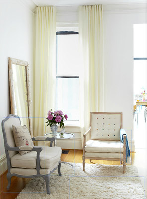 [ Cabbagetown's Ghislaine Beckers chose to keep things light and clean using neutral fabrics and paint colours when re-doing these mis-matched vintage chairs - photo courtesy of Covet Garden Magazine]
